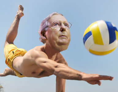 a man plays volleyball with McConnells face added 2