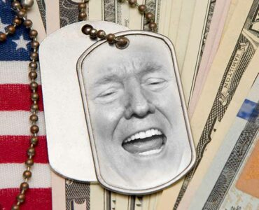 military dog tags with Trumps face and an american flag and money in the background