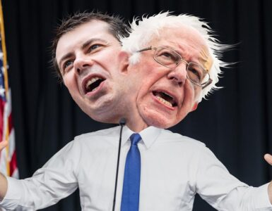 a polician body with two heads featuring Bernie Sanders and Pete Buttigieg