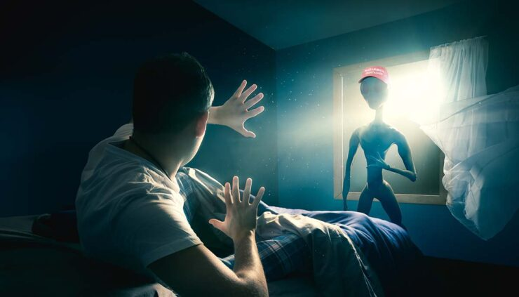 man being abducted from bed by alien shadowed in window