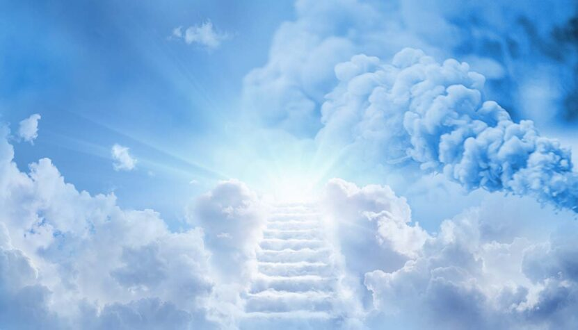 gender reveal smoke in sky with stairway to heaven